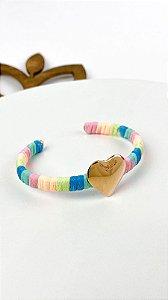 Bracelete  Cordao Tie Dye com Coraçao Liso