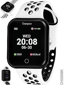 Relógio Smartwatch Champion Bluetooth 4.0 Preto Pulseira Branca e Preto