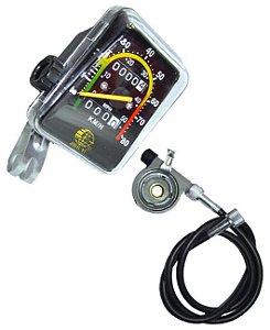 Velocímetro Analógico Quadrado 80km com Odômetro