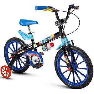 Bicicleta Infantil Aro 16 - Nathor Tech Boys - Aço - Preto e Azul