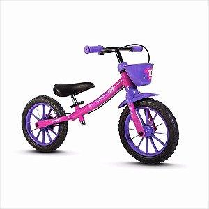 Bicicleta Balance Aro 12 - Nathor Pré-Bike - Aço - Roxo e Rosa