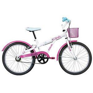 Bicicleta Aro 20 Feminina - Caloi Barbie - Aço - Branca e Rosa