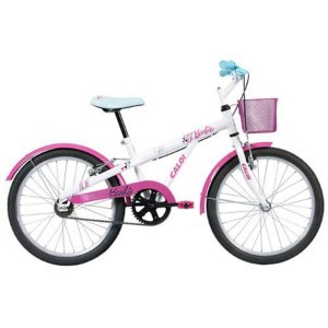 Bicicleta Caloi Barbie aro 20 Branca e Rosa
