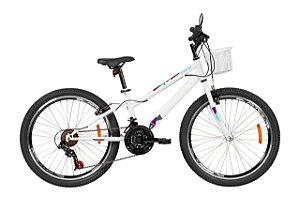 Bicicleta Aro 24 Feminina - Caloi Ceci - 21 Velocidades - Aço - Branca