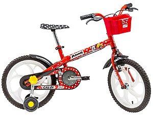 Bicicleta Caloi Minnie aro 16 Infantil Feminina Vermelha