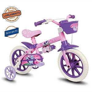 Bicicleta Infantil Aro 12 - Nathor Cat - Aço - Rosa Claro e Lilás