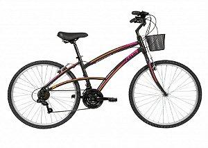 Bicicleta Caloi 100 aro 26 Feminina Preta e Rosa 2019