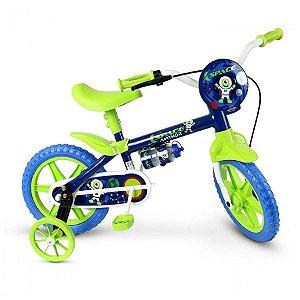 Bicicleta Infantil Aro 12 - Nathor Space - Aço - Azul Marinho e Verde