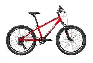 Bicicleta Aro 24 Unissex - Caloi Wild - 7 Velocidades C/ Suspensão - Alumínio - Vermelha