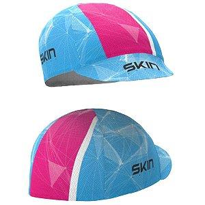 Cap de Ciclismo - Proteção P/ Suor no Capacete - Skin Sport - Azul/Rosa