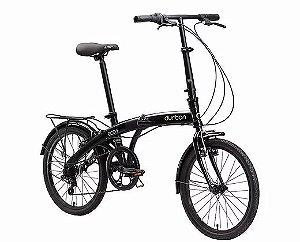 Bicicleta Aro 20 Dobrável - Durban Eco+ - 6 Velocidades - Aço Carbono - Azul ou Preta