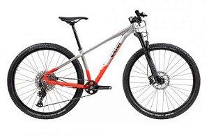 Bicicleta Aro 29 - Caloi Elite Vermelha/Alum Escovado - 2021 - Shimano Deore 12V - Rock Shox