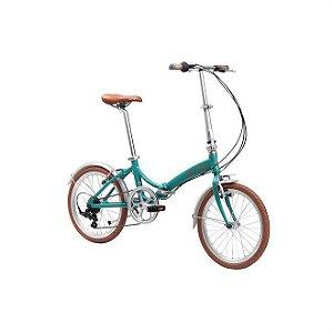 Bicicleta Aro 20 Dobrável - Durban Rio - 6 Velocidades - Aço Carbono - Turquesa