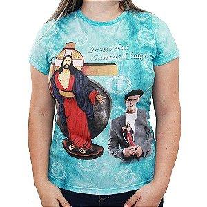 CAMISETA FEMININA – JESUS DAS SANTAS CHAGAS – AZUL