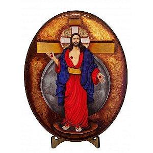 ICONE JESUS DAS SANTAS CHAGAS PEQUENO- 11 CM