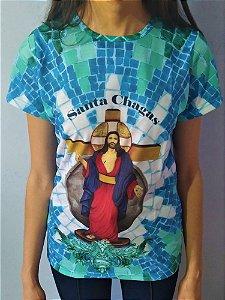 Camiseta Jesus das Santas Chagas Azul e Verde