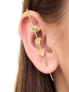 Brinco EAR PIN 3 corações