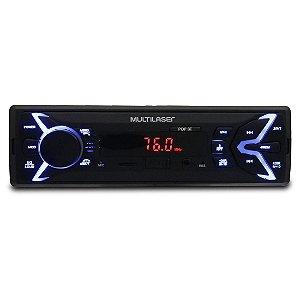 MP3 Player Automotivo Multilaser Pop BT P3336 1 Din LED Bluetooth USB Micro SD