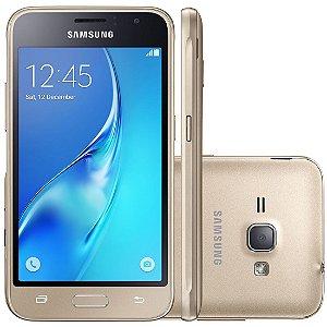 """Smartphone Samsung Galaxy J1 2016 Duos com Dual chip, Tela 4.5"""", 3G, Câm.de 5MP e Frontal de 2MP, Android 5.1 e Processador Quad Core 1.2 GHz"""
