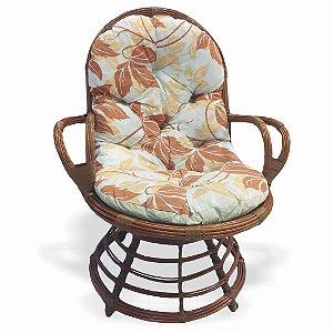 Cadeira Giratoria Rattan - Bege