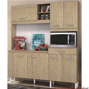 Cozinha Compacta Yara 160cm Carvalho Gris Tok - Nicioli
