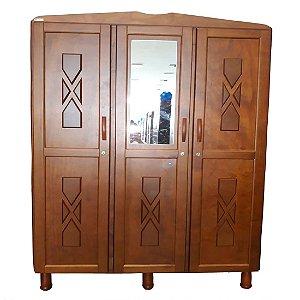 Guarda Roupa Tozetto Viena 3 Portas, com espelho - Carvalho 110 X 56