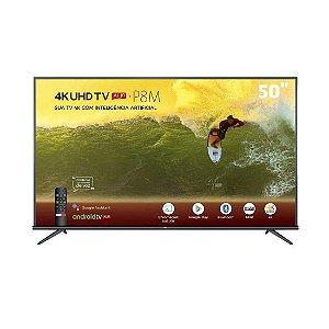 TV LED 50 Polegadas TCL 50P8M 4K UHD HDR com Android e Comando de Voz
