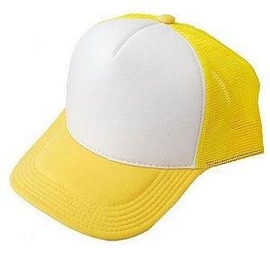 Boné Trucker Branco/ Amarelo