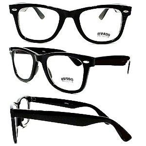 Óculos Retro - Preto (lente transparente)