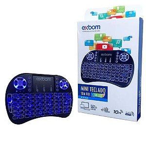 Mini Teclado Mouse Touchpad Wireless Bluetooth Iluminado Wifi Sem Fio I8.LED Tv Smart Box Usb Preto