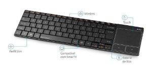 Teclado Multilaser Para Smart Tv, PC e Notebook Sem Fio Com Touch Pad - TC219