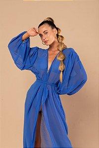 Saída  Manga Bufante Azul