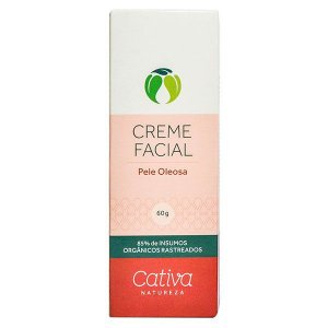 Creme Hidratante Facial Pele Oleosa Orgânico Natural Vegano 60g - Cativa Natureza