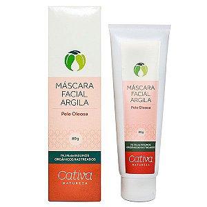 Mascara Limpeza Facial com Argila Pele Oleosa Orgânica Natural Vegana - Cativa