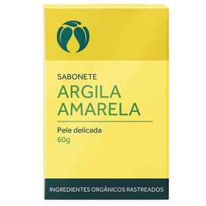 Sabonete Argila Amarela para Pele Delicada Orgânico Natural Vegano - Cativa Natureza - 60g