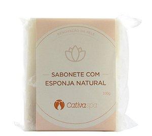 Sabonete Esfoliante com Esponja Natural Cativa Spa Orgânico Natural Vegano