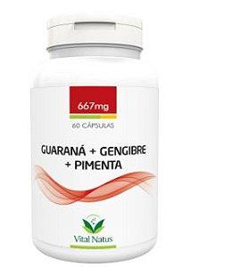 Guaraná + Gengibre + Pimenta 667mg C/ 60 Cápsulas - Vital Natus