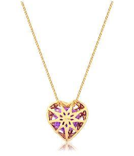 Difusor Pessoal Em Prata 925 Com Banho De Ouro - Modelo Coração - Divico Joias Terapêuticas