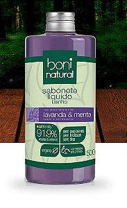 Sabonete Líquido Lavanda & Menta, 91,90% Vegetal & Mineral, 500ml - Boni