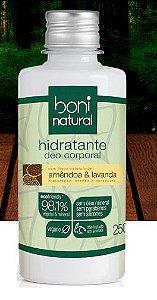Hidratante Deo Corporal  Amêndoa & Lavanda, 98,10% Vegetal & Mineral, 250mL - Boni