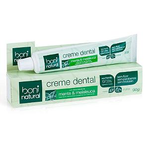 Creme Dental Natural e Vegano Menta & Melaleuca, 97,80% Vegetal & Mineral - Boni
