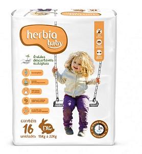 Fralda Ecológica Descartável EXG Herbia Baby 16 uni - Herbia