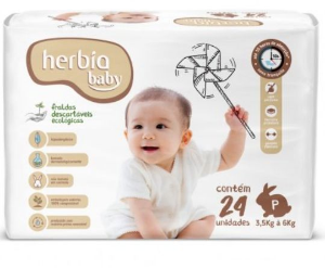 Fralda Ecológica Descartável P Herbia Baby 24 uni - Herbia