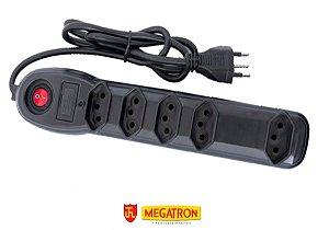 Extensão Filtro de Linha 5T Preto, MEGATRON