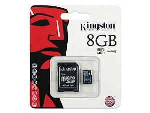 Cartão Memória 08GB Micro SD + Adaptador, KINGSTON