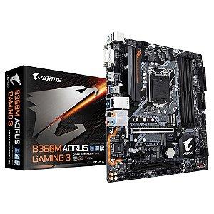 Placa Mãe 1151 8 Geração DDR4 Gaming AORUS, GIGABYTEB B360M (DVI/HDMI/4xUSB 3.0/2xUSB 2.0/PCI-e/PCI/64GB) *Garantia 6 Me