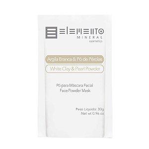 Argila Branca com Pó de Pérolas  Sachê   30g  -  Elemento Mineral