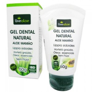 Gel Dental Natural Aloe Mamão  - 60g -  Livealoe