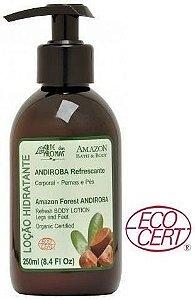 Loção Hidratante Orgânica Andiroba Refrescante com Cupuaçu, Babosa e Menta 250ml - Arte dos Aromas