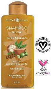 Shampoo Canela e Cupuaçu com Óleo Orgânico de Limão - Cabelos Tingidos 300ml - Surya Brasil